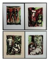 Karen Degett. Fire kompositioner, akvarel og oliekridt på papir (4)