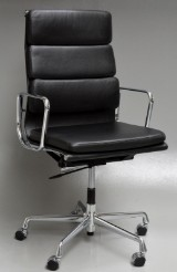 Charles Eames. High-backed Soft Pad office chair, black leather, model EA-219