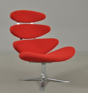 corona stol Poul M. Volther, 1923 2001. Corona easy chair, red wool | Lauritz.com corona stol
