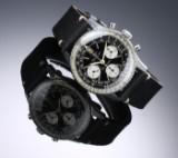 Breitling 'Navitimer Doppelflieger'. Vintage herrechronograf i stål med sort skive, 1960'erne
