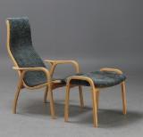 Yngve Ekström, lounge chair, 'Lamino' with ottoman, grey-green sheepskin
