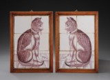 A pair of Dutch tile pictures in oak frame, 18-19th century (2)