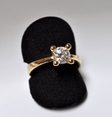 Scrouples. Solitaire ring, 14 kt. gold, with diamond, approx 0.80 ct