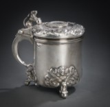 Baroque-form lidded mug, sterling silver, with Norwegian Christian IV 2 mark 1647