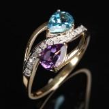Ring med ametyst, blå topas og diamanter