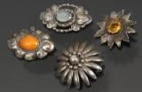 Samling brocher af sølv (4)