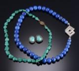 Turkis halskæde og øreringe, lapis lazuli halskæde (4)