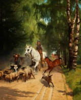 Adolf Henrik Mackeprang. Forest lane with man on horseback surrounded by sheep, cows and foal, oil on canvas