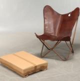 Butterflystol/Flagermusstol. Home Art. Brunt læder og kobberfarvet stel (2)