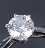 Solitaire ring, 14 kt. white gold, with diamond, approx. 1.02 ct. E/VS2