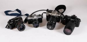 Samling af analoge spejlrefleks cameraer bl.a. Nikon (4) - Dk, Aalborg, Nibevej  - Samling af analoge spejlrefleks cameraer bl.a. Nikon F-601, Nikon F-65, Fijaca ST605N, Chinon CE-5 (4) - Dk, Aalborg, Nibevej