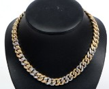 Curb chain necklace with diamonds, 18 kt gold/white gold, 4.00 ct. Weight approx. 116 g