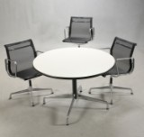 Charles Eames, three chairs, model EA 108, and lounge table, Segmented Table (4)