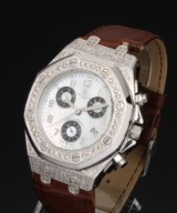 Techno by JPM. Men's chronograph, steel with diamonds