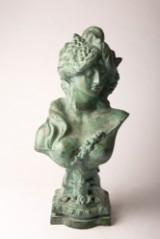 Französische Bronze, Plastik, Büste, Frau mit Trauben