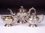 Teservis, Hong Kong, silver, ca år 1900, 3 delar