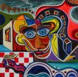 Juan Carlos Fierro. 'Synchronized', 2010, mixed media på lærred