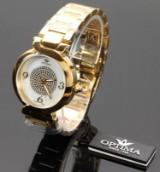 Optima Since 1923. Swiss made model OSL314-GG-7. Dame armbåndsur med urkasse og lænke af forgyldt stål.