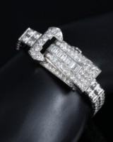 Art deco brillantarmbånd med skjult ur udført i 950 platin, i alt ca. 8.85 ct