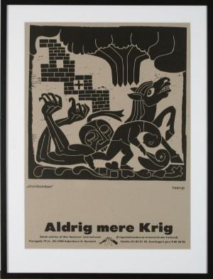Hypermoderne Henry Heerup, litografisk tryk, 'Atombomben, Aldrig mere krig'. cd BU-77