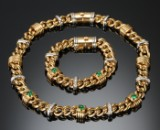 Jewellery set wtih emeralds and diamonds, 18 kt