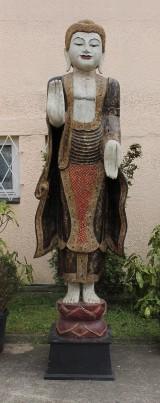 Oversized wooden figure of Buddha Abhaya Mudra