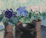 Ubekendt kunstner. Opstilling med potteplanter, olie på lærred