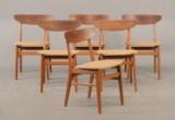 Farstrup møbler, seks stole af teak og bøg (6)