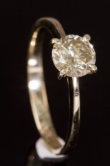 Solitairering, 14 kt guld, ca. 0.88 ct.