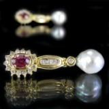 Par øreringe med diamanter, rubiner og perler, par ( 2 )