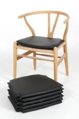 Hyndesæt til Hans J. Wegners Y- stol. Sort læder. (6)