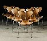 Arne Jacobsen, chairs, model 3107 / 'Series 7', springbok covers (6)