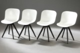 Verge dining chairs with oiled wengé-coloured/black oak legs (4)