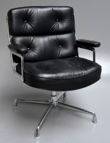 Charles & Ray Eames. Lobby Chair, ES-108, black leather