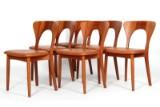 Niels Kofoed. Seks stole af massiv teak, 'Peter-stolen' Sæder med anilin læder. (6)