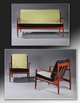 Grete Jalk. Three-seater sofa and a pair of lounge chairs, teak (3)