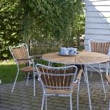 Havemøbelsæt, Fire stole, bænk samt bord, alu og teak (6)