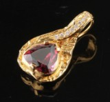Arne Blomberg. Pendant, 18k, with rubellite tourmaline and diamonds