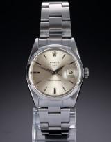 Rolex 'Date'. Vintage herreur i stål med sølvfarvet skive, ca. 1964