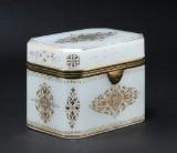 Large Empire sugar box, gold decorated opaline glass, c. 1820