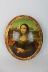 Ovales Ölgemälde auf Holz, Mona Lisa