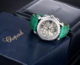 Chopard 'Happy Sport'. Stor damechronograf i stål med perlemorsskive og brillanter, 2000'erne