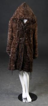 Pelsfrakke af strikket scanbrown mink 42-44