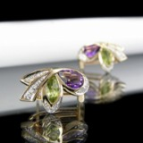 Pair of rose gold ear studs with amethysts, diamonds and peridot