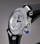 Cartier 'Miss Pasha'. Ladies watch, steel, with sapphire, certificate 2014
