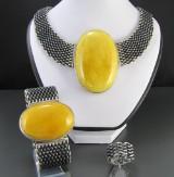 Set Design Bernstein-Silberschmuck, Kette, Armband und Ring (3 )
