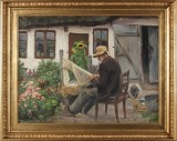 H.A. Brendekilde. Fisherman mending his net in front of this house