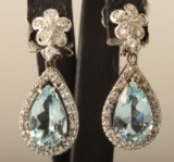 14kt earrings with topaz and diamonds approx.0.66 ct