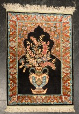Kashmir bedetæppe, silke på silke