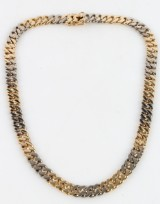14 kt. white and red gold necklace, curb pattern, 102 g.
